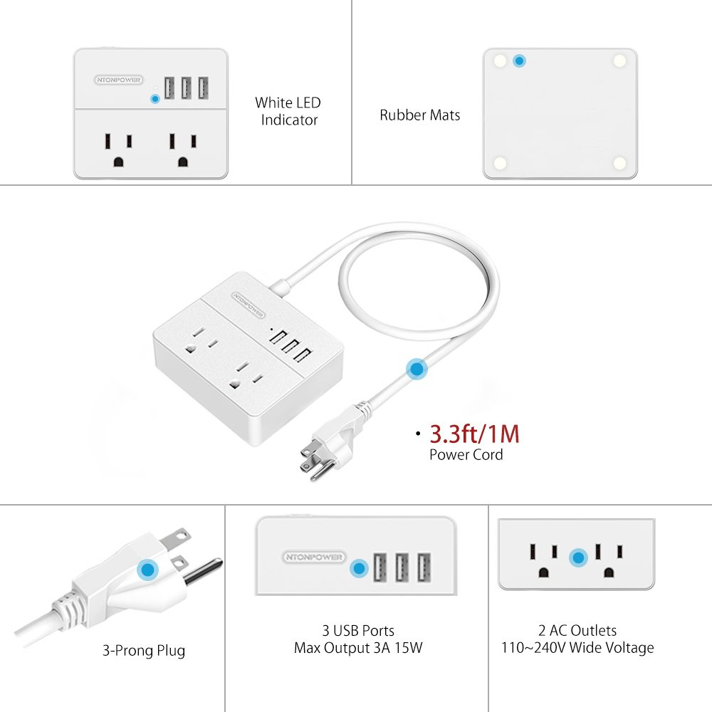 NTONPOWER Travel Power Strip 2 Outlets 3 USB Charging Ports Small Power Station with 3.3ft Extension Cord for Smartphone Tablets Cruise Hotel Office Bedside Table - White by NTONPOWER (Image #4)