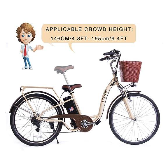 """SOHOO 36V350W10AH 26"""" Electric Bicycle City e-Bike Mountain Bike(Cream)"""