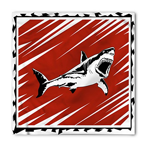 Shark Bandana by Ambesonne, Killer Sea Creature Swimming in the Ocean in Grunge Stylized Artful Graphic, Printed Unisex Bandana Head and Neck Tie Scarf Headband, 22 X 22 Inches, Black White Ruby