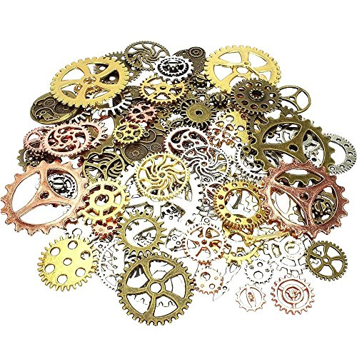 Day Gear Mixed Color 200 Gram Assorted Antique Steampunk Gears Charms Pendant Clock Watch Wheel Gear for (Costume Design Drawing Template)