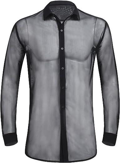 FEESHOW - Camisa para Hombre Slim Fit de fácil Planchado, Manga Larga, Moda 2019, Color Blanco y Negro Negro XXL: Amazon.es: Ropa y accesorios