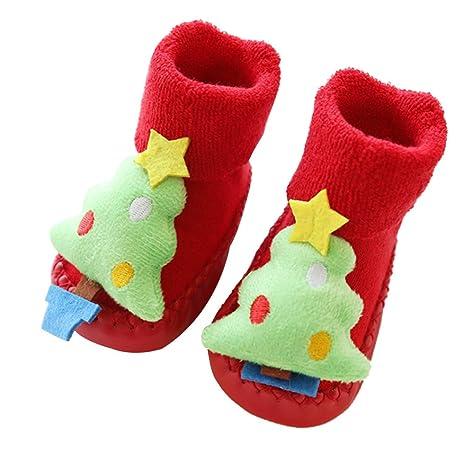 Toyvian Bebé Niños Niñas Niños Pequeños Zapatillas Antideslizantes Zapatillas Calcetín Lindo Árbol de Navidad Invierno Cálido