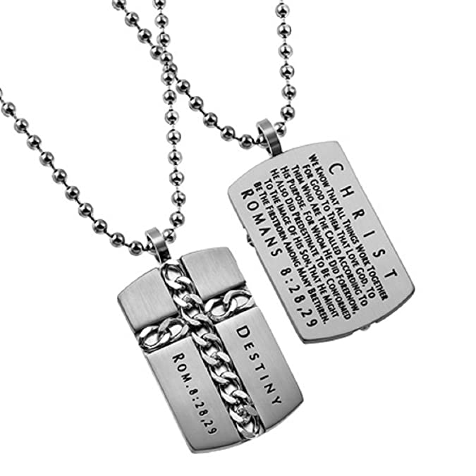 Christian Dog Tag Cross Necklace Destiny Romans 828 29 Stainless