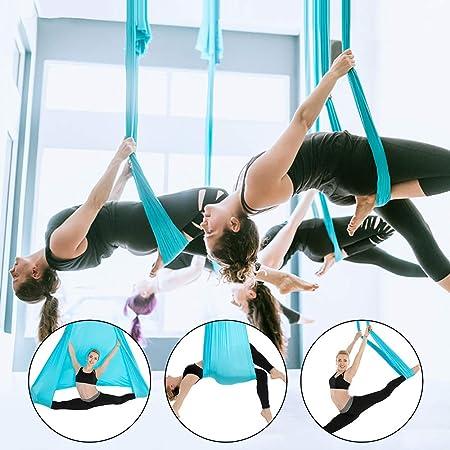 Melk Temn Juego de hamacas de yoga aéreo para yoga, 5 m de largo 2.8 m de ancho Hamaca de nylon Gimnasio Anti Gravedad Balanceo de aire Vuelo con ...