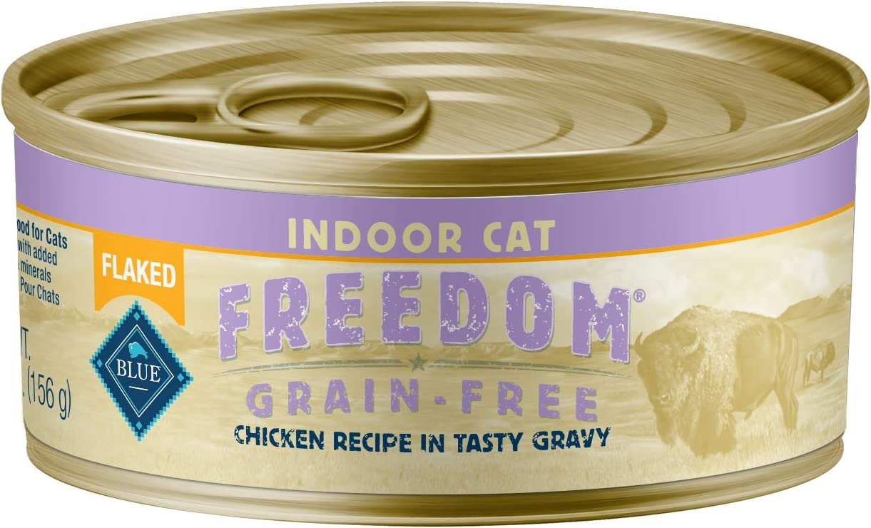 Blue Buffalo Freedom Grain Free Natural Adult Flaked Wet Cat Food Indoor Chicken 5.5-oz cans (Pack of 24)