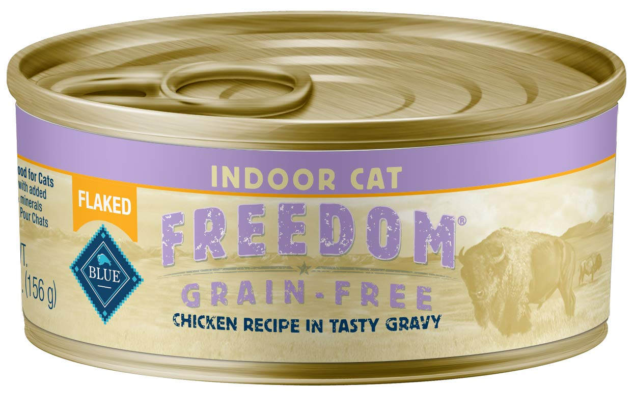 Blue Freedom Adult Indoor Grain Free Flaked Chicken Wet Cat Food 5.5-Oz (Pack Of 24) by Blue Buffalo