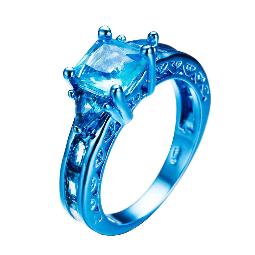 Christmas Ring.Junxin Jeweley 2017 Blue Gold Christmas Ring Blue Sapphire Womens Party Chic Rings
