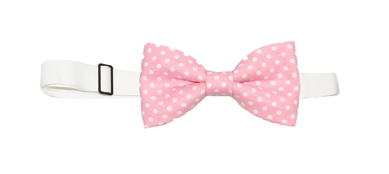 Mens Light Pink With White Dots Pre-Tied Cotton Bow Tie On Adjustable Twill Strap