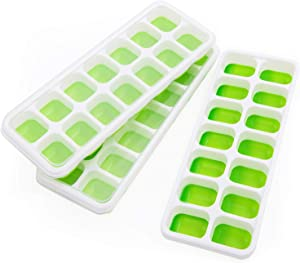 Ice Cube Trays, Ice Trays of 3 Pack Silicone Ice Cube Tray Flexible with Removable Lid Small Easy Release Ice Cube Trays for Freezer/Beverages/Baby Food/Chocolate Stackable and Dishwasher Safe(Green)