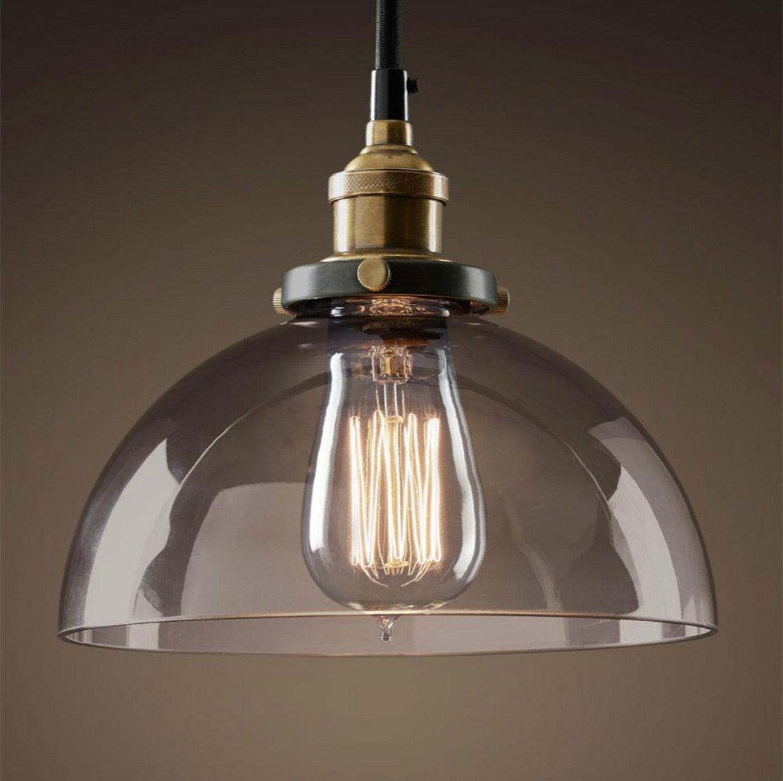 PureLumeTM Vintage Antik Smoke-Sphere Retro Lampe mit Glas Glocke und Nostalgie 40W Glühbirne