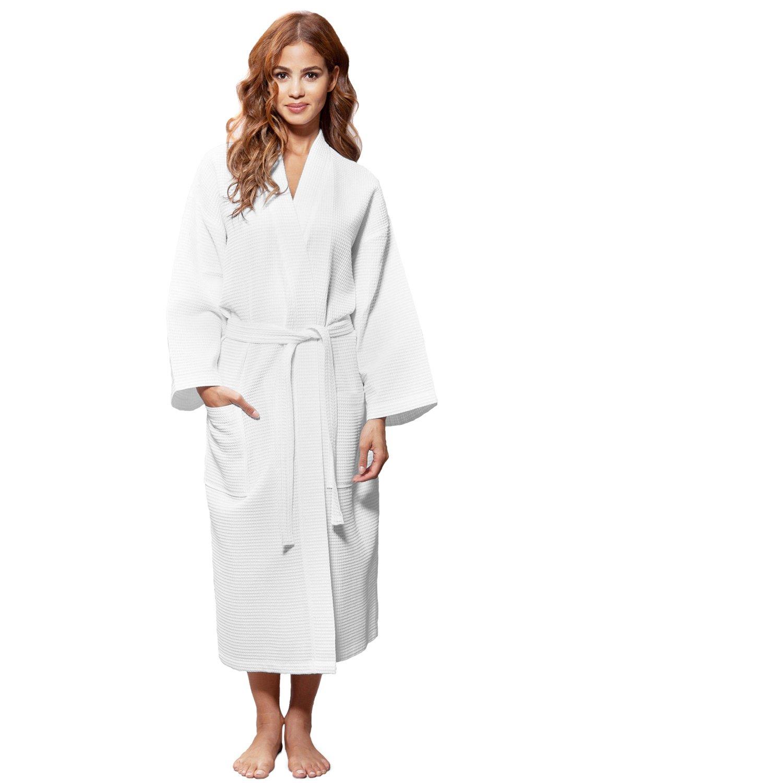 Blue Nile Mills Hotel & Spa White Robe, Delicate Waffle Weave, 100% Cotton, Unisex Bathrobe for Women and Men, Medium Size