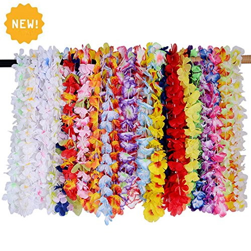 【NEW】Neworkg 36 Counts Hawaiian Leis Party Supplies with Multicolor Design for Theme Party Event Decorations -