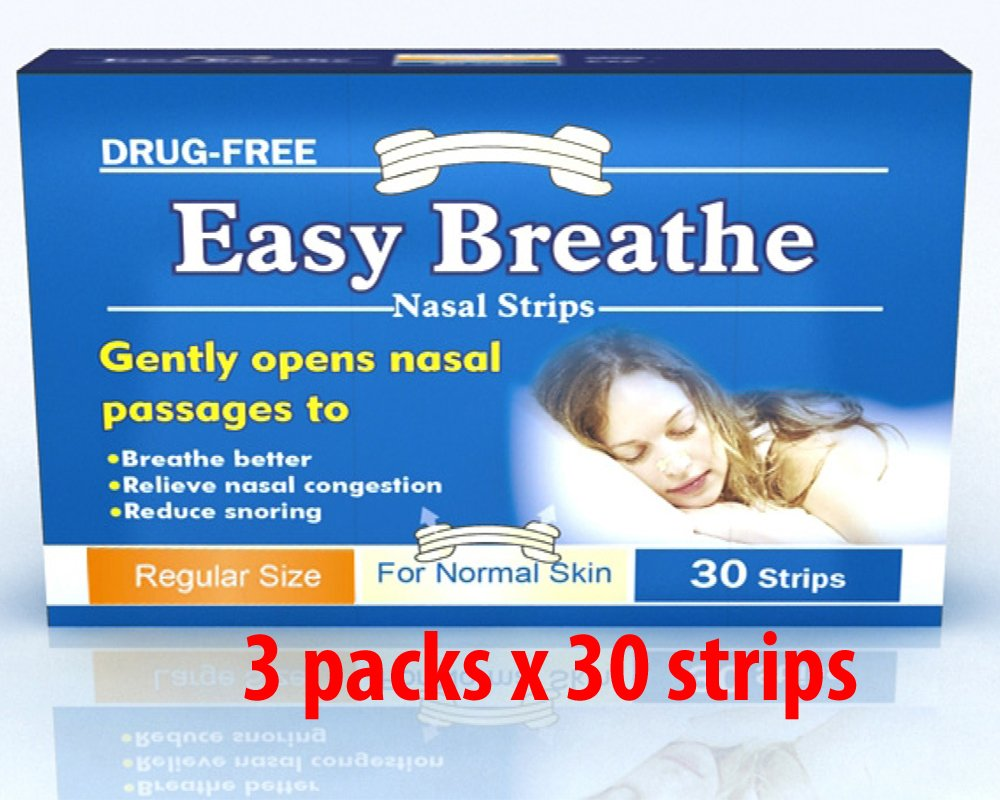 Easy Breathe Natural Nasal Strips - Regular Size (s/m) (90 Strips) ** Drug Free** 3 PACKS OF 30 STRIPS **Relieve from Nasal Congestion. 100% Drug free. No adverse effect. 100% Satisfaction Guarantee. Solution for sound night sleep. by Easy Breathe
