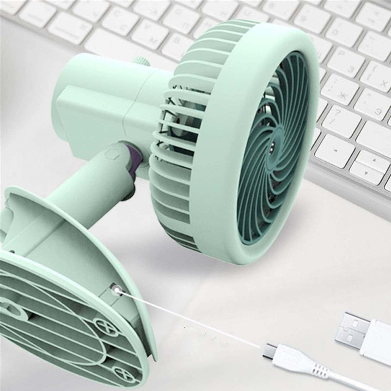 HJIAN 3 Cambio Vento Home Office Ventilatore Elettrico Mini Clip Ventilatore da tavolino di Ricarica USB Fan Ventilatori da scrivania per casa e Viaggi (Color : Pink) White