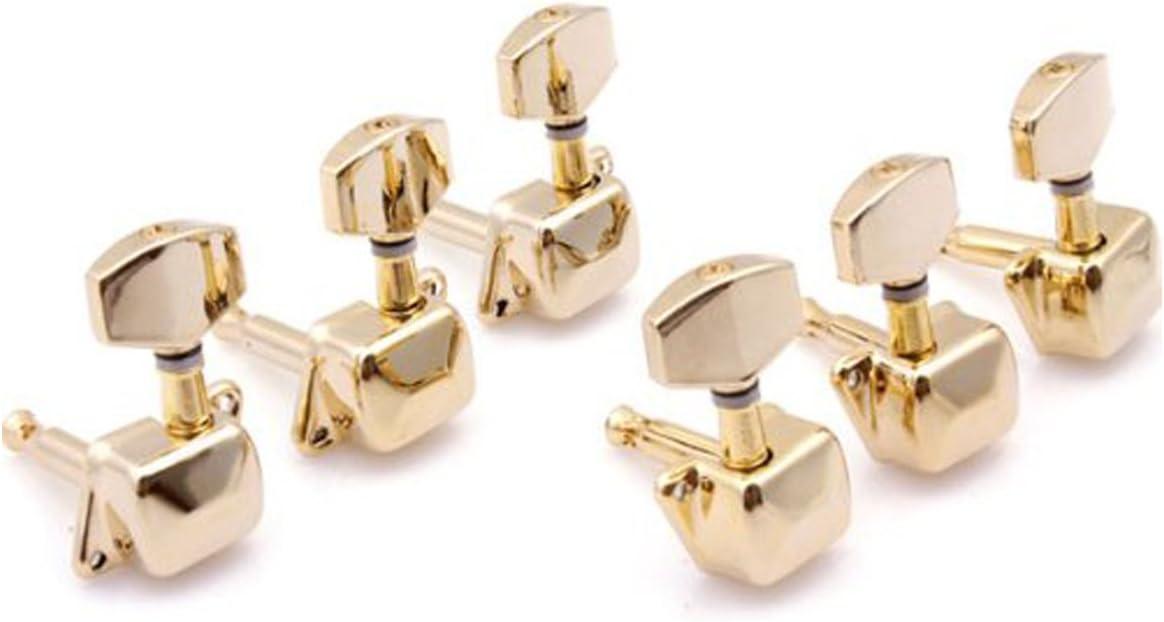 Musiclily 3+3 Estilo Semi Sellado Clavijas de afinación Clavijero de Repuesto para Guitarra Eléctrica/Acústica, Oro