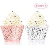 BAKHUK 100pcs Lace Cupcake Wrapper, Laser Baking Cup Liners Holders Muffin Case Trays for Wedding Anniversary Baby…