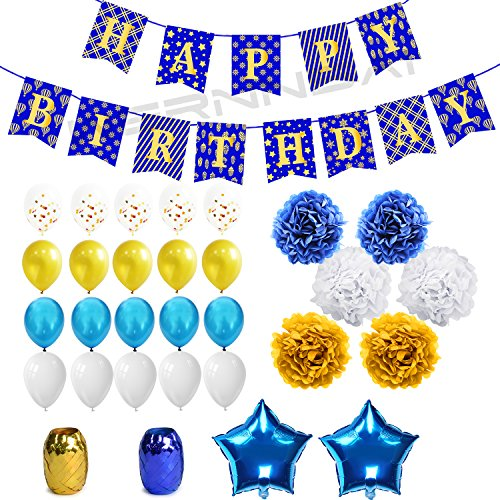 WERNNSAI Birthday Decorations Gold Blue Happy Birthday Banner Confetti Latex Balloons Ribbons Paper Pom Poms Star Foil Balloons 43 Pieces Party Supplies Kit for Kids