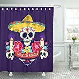 Emvency Shower Curtain Waterproof Decorative Bathroom 66 x 72 inches Colorful Day Mexican Dia De Los Muertos Skull with Flowersand Candles Dead Party Polyester Fabric Set with Hooks