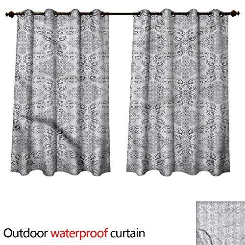 Regency Comforter - cobeDecor Grey Outdoor Curtains for Patio Sheer Victorian Regency Tile W63 x L72(160cm x 183cm)