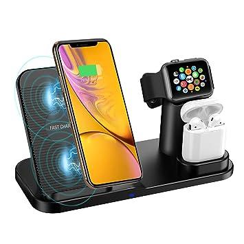 Wonsidary Cargador Inalámbrico para Apple, 3 en 1 Estación de Carga Rápida Qi Soporte de Carga para iWatch Series 3/2/1, AirPods, iPhone XS/XR/8, ...