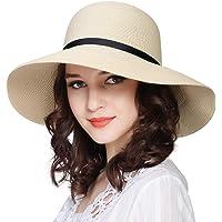 FURTALK Women Wide Brim Sun Hat Summer Beach Cap UPF50 UV Packable Straw Hat  for Travel b545bbc58d1b