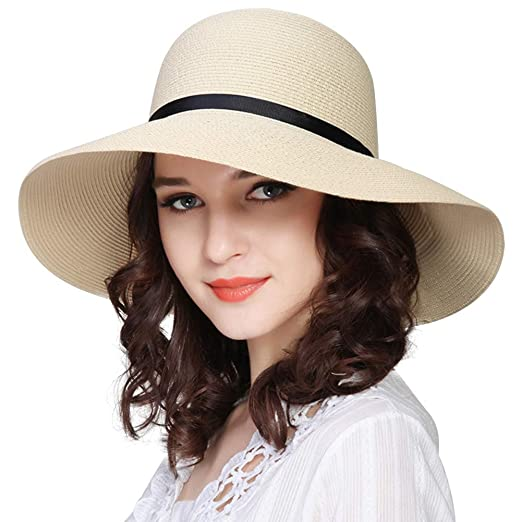 c76f792a37c Image Unavailable. Image not available for. Color  FURTALK Women Wide Brim  Sun Hat Summer Beach Cap UPF50 UV Packable Straw ...