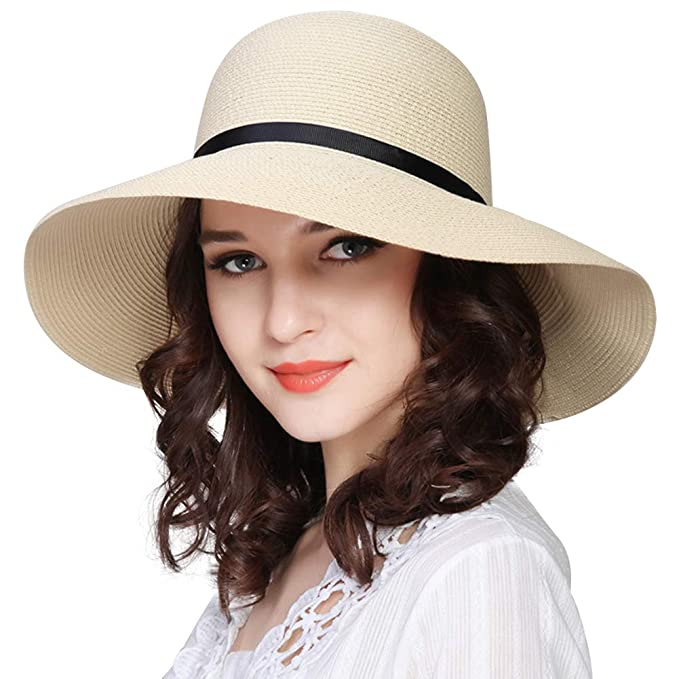 e0f8c4aa666 Image Unavailable. Image not available for. Color  FURTALK Women Wide Brim Sun  Hat Summer Beach Cap UPF50 UV Packable Straw Hat for Travel