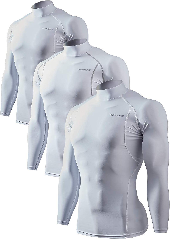 DEVOPS Men's 2~3 Pack Cool Dry Athletic Compression Mock Turtle Neck Baselayer Workout T-Shirts