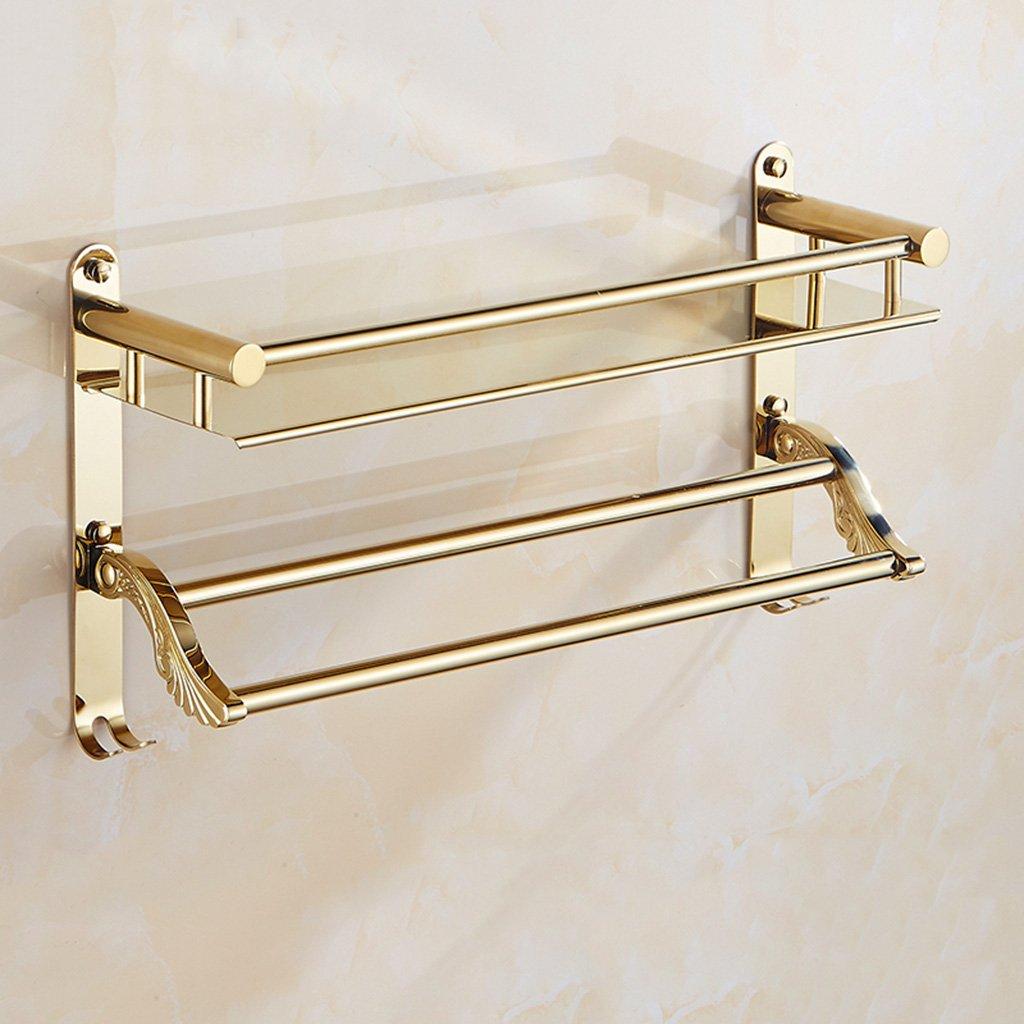 Regale Bad einstöckigen Regal Europäischen Gold-Edelstahl-Haken Multifunktions-Doppel-Handtuchhalter (Größe: 50cm) - Lagerregal (größe : 40cm) AJZXHE