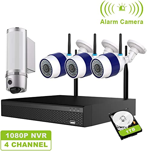 FREECAM Wireless Home Security Camera System Outdoor CCTV Camera System with Floodlight Security Camera,4CH WiFi NVR Kit,Siren Alarm M430B