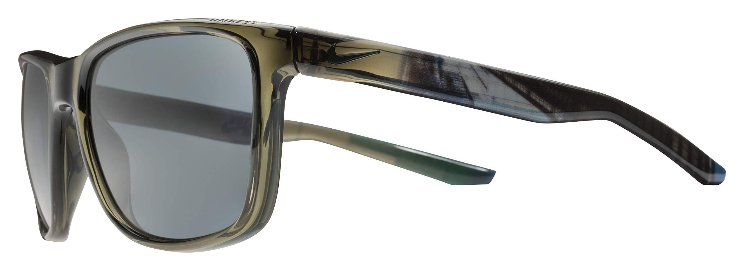 Nike Men's Unrest Se Rectangular Sunglasses, Crystal Cargo Khaki/Melbourne, 57 mm