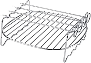 Ejoyous BBQ Rack, 304 Stainless Steel Replacement Airfryer Double Layer Rack Accessory with Skewers Baking Tray for Philips Air Fryer HD9225, HD9920, HD9231, HD9233, HD9904, ect.