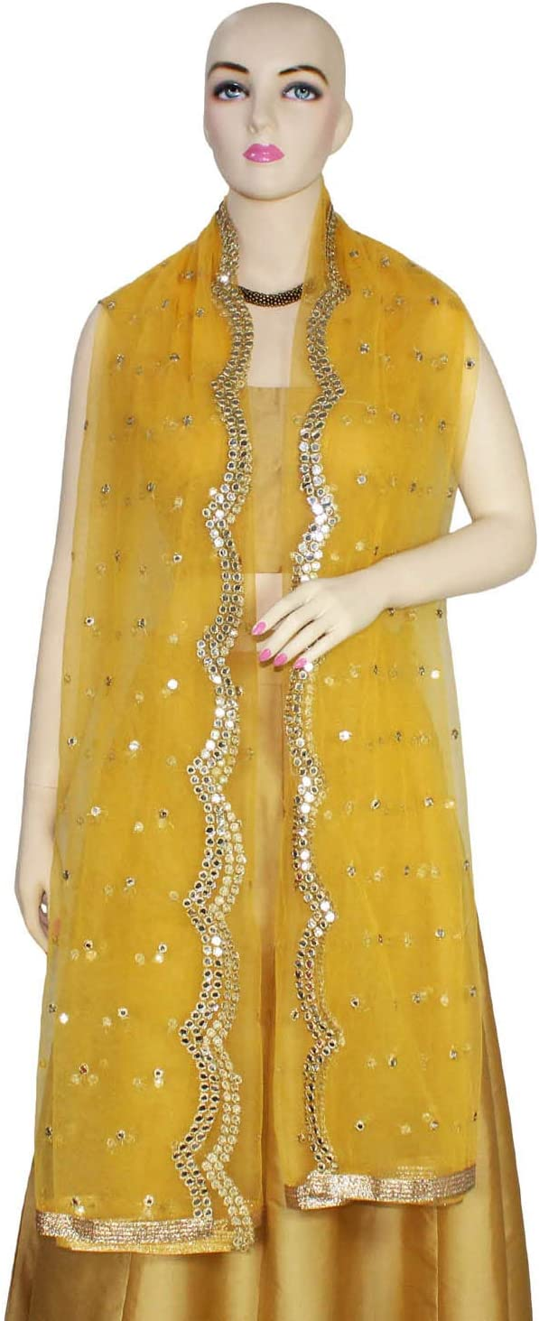 Yellow Dupatta Net Scarf Chunni Embroidery Mirror Sticker Work Head Wrap Party Wear Stole For Her