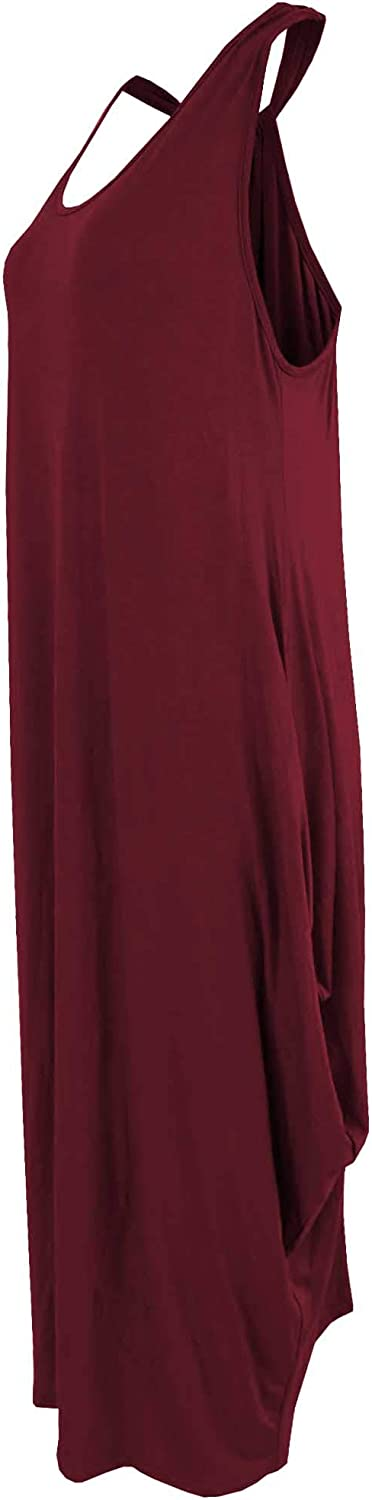 Ladies Plain Coloured Sleeveless Boho Style Muscle Back Baggy Dress One Size 11 Colours Available Wine