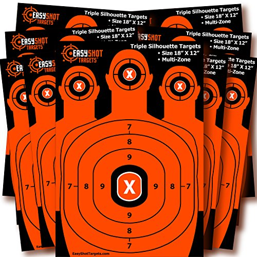Silhouette Shooting Targets | High-Visibility Orange | Maximum Downrange Visibility | Bright and Colorful | 150 Repair Stickers | Multi-Zone | Sturdy | Size 18