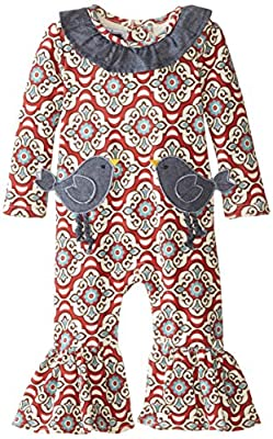 Newborn Girls Bird Pocket One Piece Outfit from Mud Pie Baby