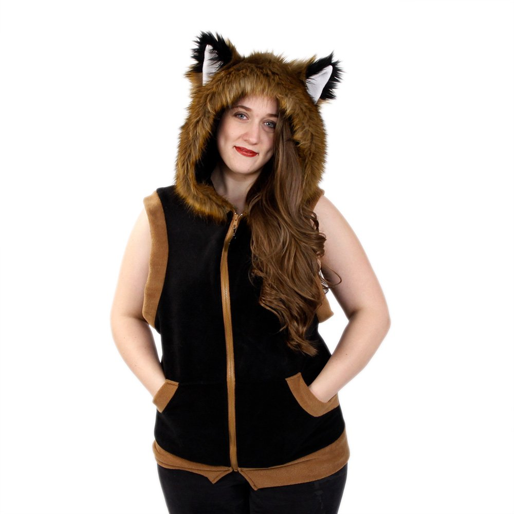 Pawstar Fur Trimmed Fox Ear Hoodie Sleeveless Fleece - Medium by Pawstar