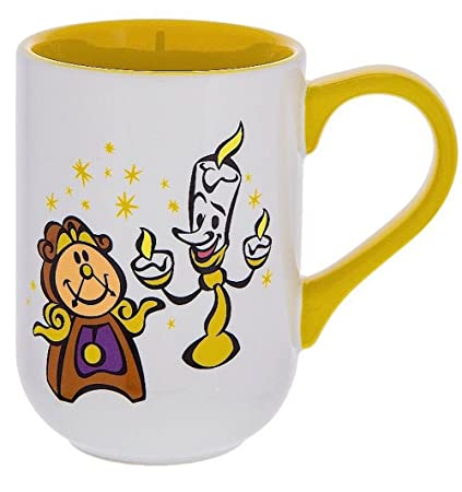 db31597e5d6 Disney Parks Cogsworth Lumiere from Beauty and the Beast Castle Mug Yellow  Handle and Inside NEW