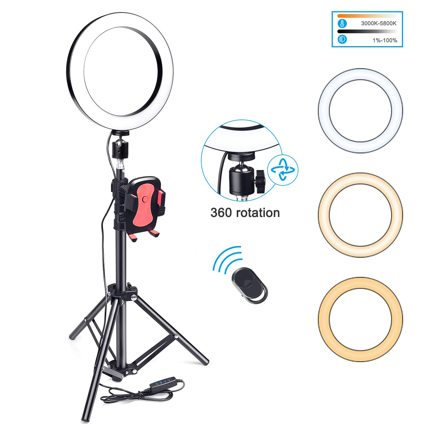 8'' Selfie Ring Light with Flexible Tripod Stand and Cell Phone Holder, Dimmable LED Selfie Light for Live Stream/Makeup/YouTube Video with 3 Light Modes, Compatible with iPhone Android