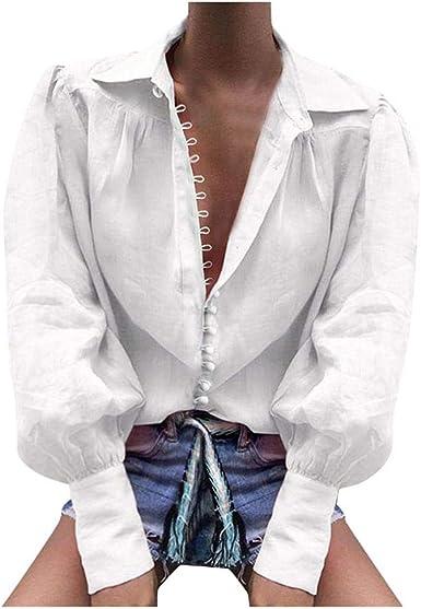 VJGOAL Camisa Casual de Solapa Suelta para Mujer Botón Estampado de Manga Larga Cuello en V Blusa de Color sólido de Moda Sexy Blusa: Amazon.es: Ropa y accesorios