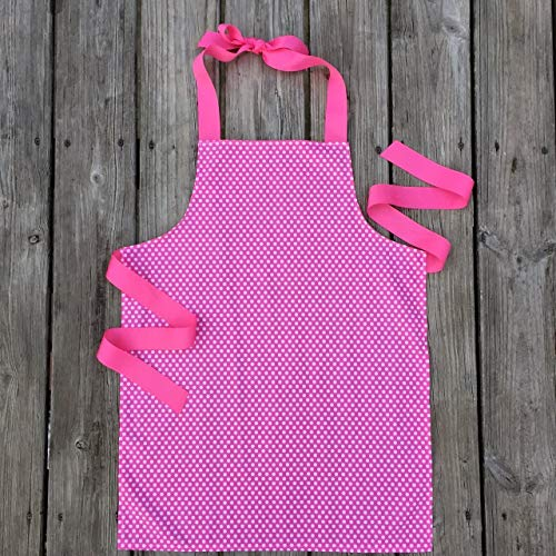 Pink and White Polka Dot Apron for Tween Girls - Grosgrain Fun Dots