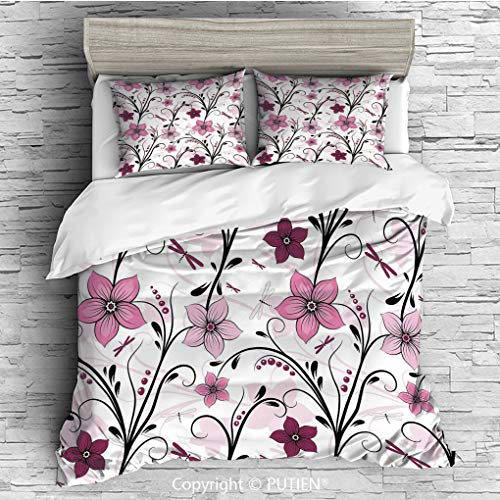 KING Size Cute 3 Piece Duvet Cover Sets Bedding Set Collection [ Dragonfly,Shabby Chic Floral Swirled Leaves and Florets Artistic Illustration,Light Pink Dried Rose ] Comforter Cover Set for Kids Girl ()