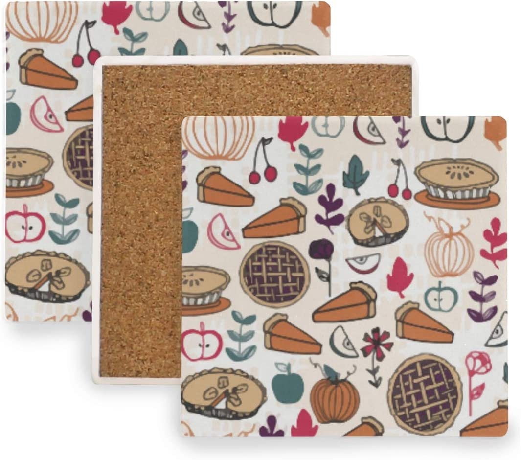 Thanksgiving Pumpkin Apple Pie Ceramic Coasters for Drinks,Square 4 Piece Coaster Set