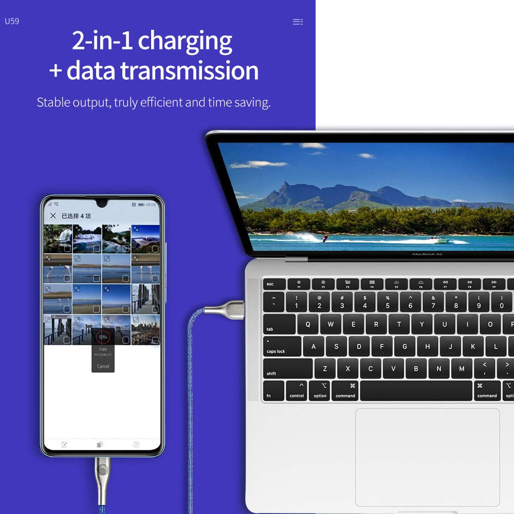 Y/&SJ USB Data Line Nylon Braided Type-C Charging Cable with Night Light and Fingerprint for Huawei P30 P20 Mate 20//20 Pro//10//10 Pro//9//9 Pro//Samsung Galaxy S10//S9//S8 Plus,Silver