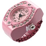Finger vigilanza dell'anello - SODIAL(R) Le donne di colore rosa quarzo della lega tasca l'anello di barretta Quadrante strass rotonda