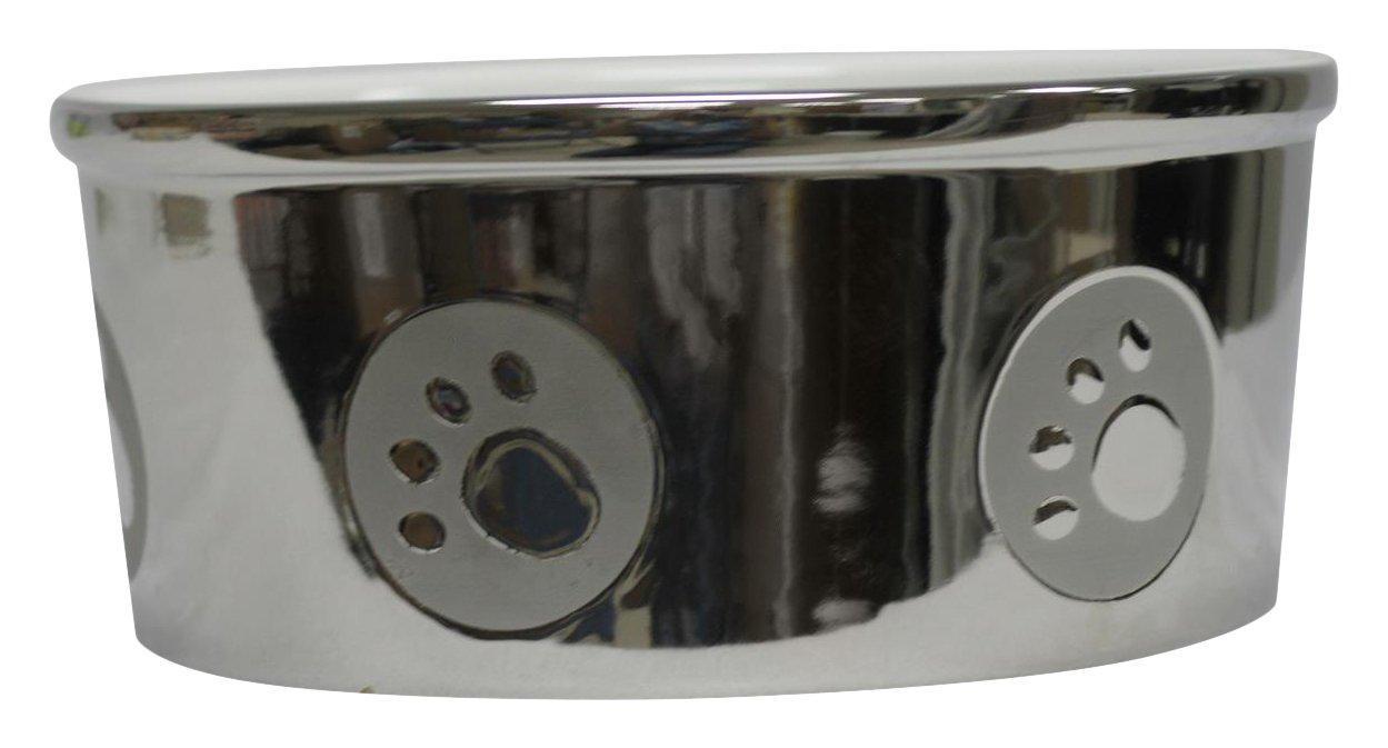 Ethical Stoneware Dish 6829 Paw Print Titanium Dog Dish Silver, 7 Inch