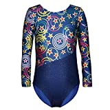 DAXIANG One-piece Gymnastics Leotard Long Sleeves Floral Printed Gold Dance Unitards for Little Girl