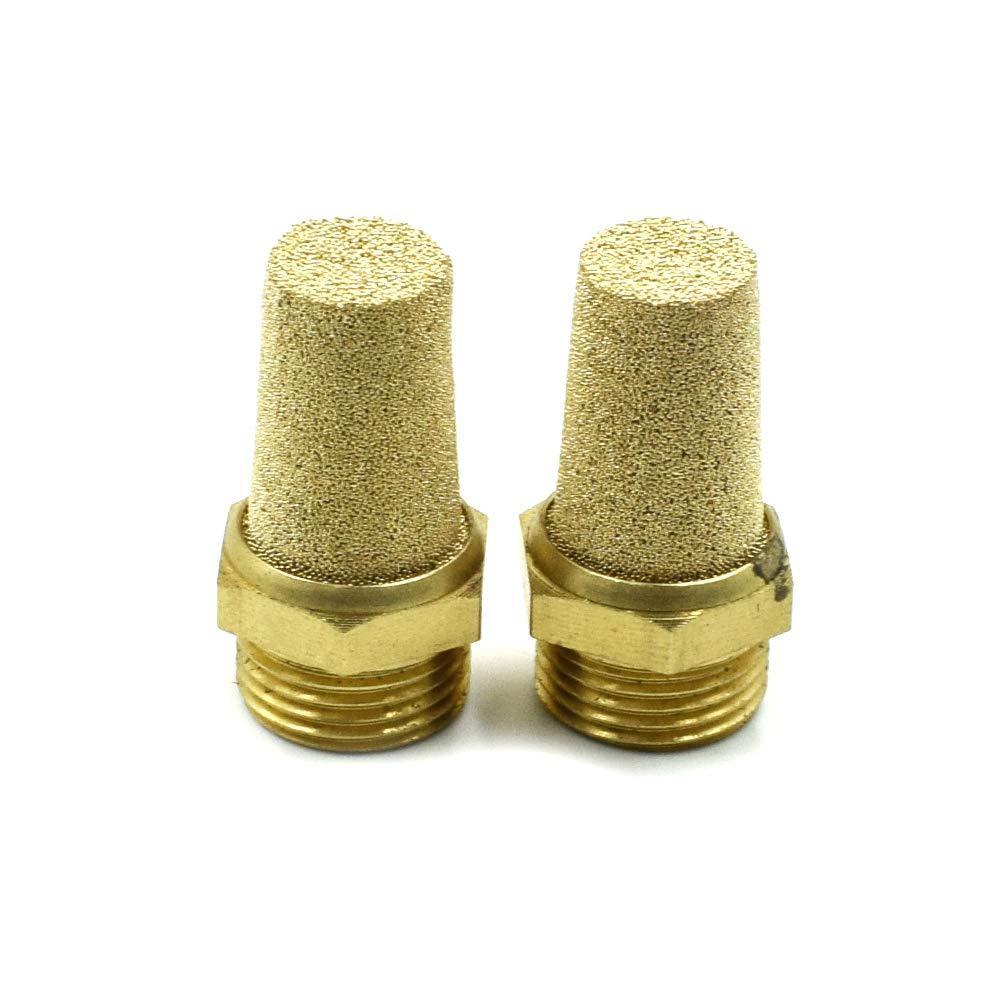 uxcell 1//8PT Male Thread Pneumatic Muffler Filter Exhaust Brass 10 Pcs