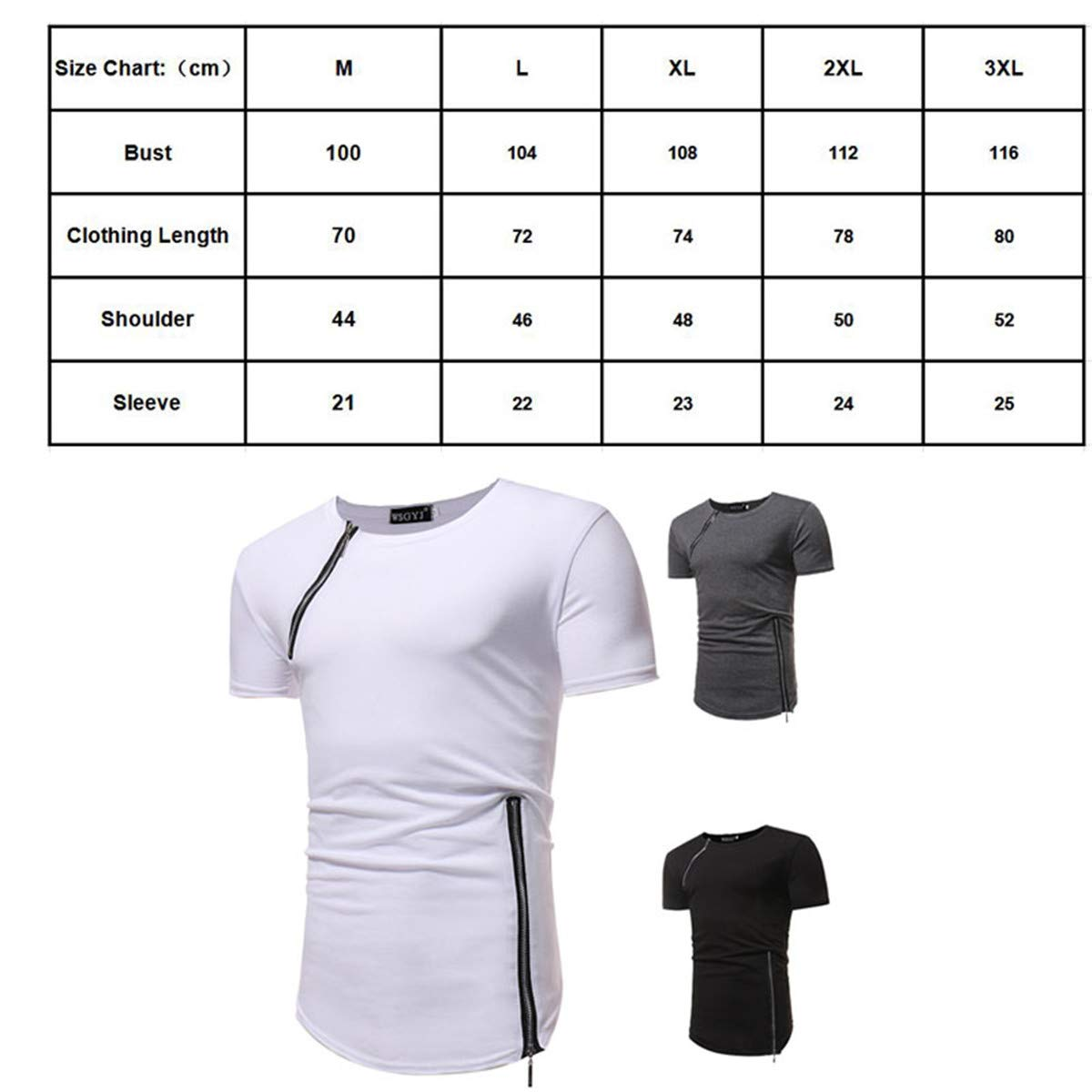 etst Solid Color Round Neck Personality Zipper Stitching Short-Sleeved t-Shirt Male Black 5 Size