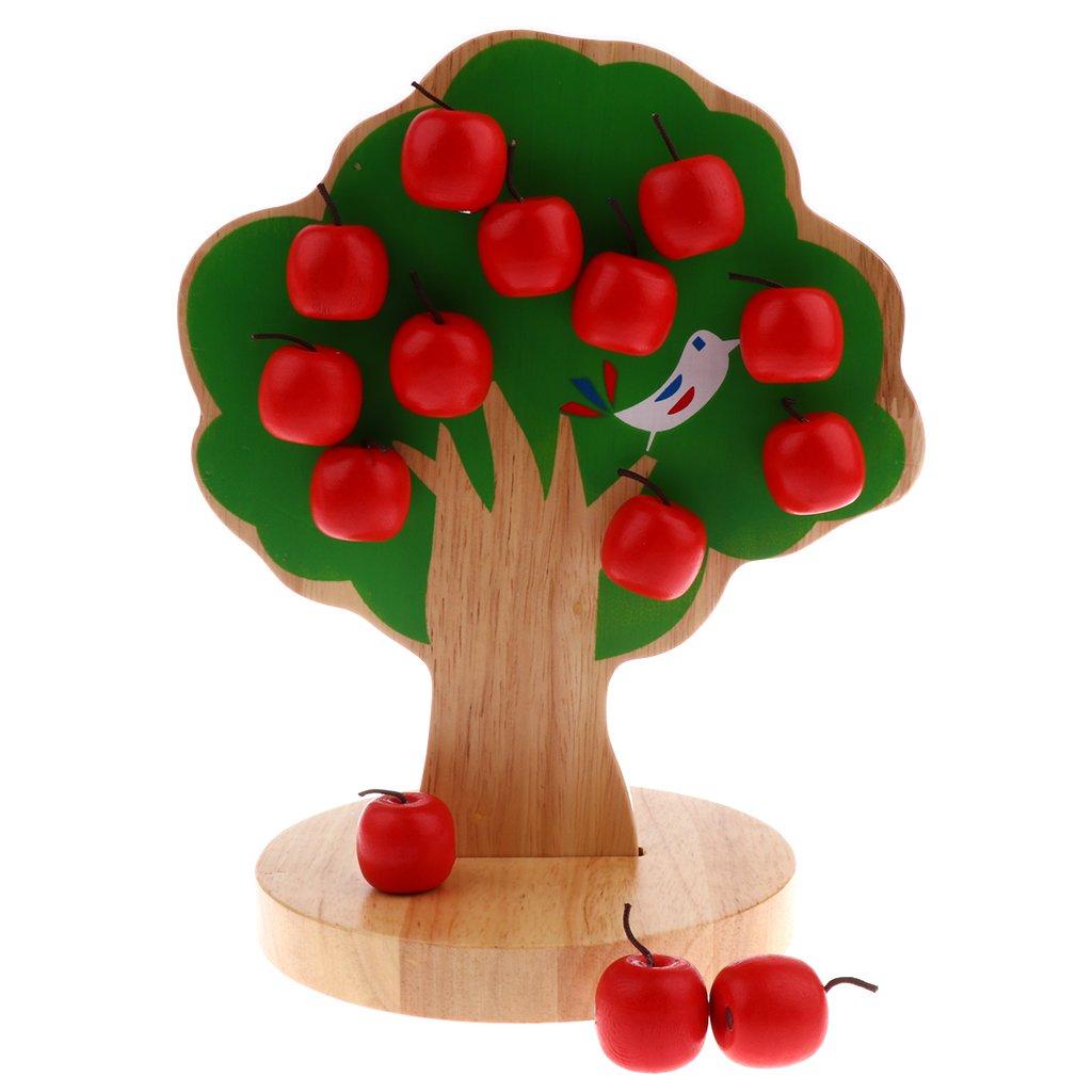 MonkeyJack Wooden Educational Toy Magnetic Apple Tree Montessori Toy for Preschool Kids